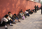 Beijing China Economy 1990s. Unemployed men at an informal daily job market. Unrecognised by local government 1995