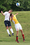 27 June 2008: The United States' Nicholas Palodichuk (l) and Bridge's Robert Belair (3) challenge for a header. The United States 2009 Under-17 Men's National Team lost to the Bridge FC U16s 1-3 at McPherson Stadium at Bryan Soccer Park in Brown's Summit, NC as part of the U.S. Soccer Federation Development Academy Summer Showcase which is part of the 2007-2008 regular season.