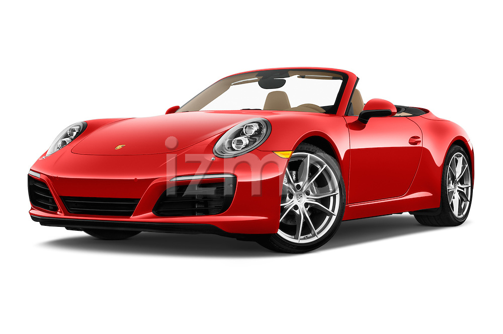 Stock pictures of low aggressive front three quarter view of 2017 Porsche 911 Carrera 2 Door Convertible Low Aggressive