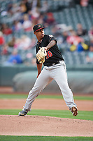 Albuquerque Isotopes starting pitcher Yency Almonte (36) delivers a pitch to the plate against the Salt Lake Bees  at Smith's Ballpark on April 5, 2018 in Salt Lake City, Utah. Salt Lake defeated Albuquerque 9-3. (Stephen Smith/Four Seam Images)