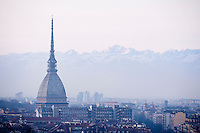 Turin (Torino) Piedmont, Italy, surrounded by snow covered alps is a major business and cultural centre in northern Italy.  The Mole Antonelliana constructed from 1863 is now a national museum of cinema.