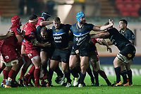 Nathan Catt of Bath Rugby appeals for a penalty after a strong scrum. European Rugby Champions Cup match, between the Scarlets and Bath Rugby on October 20, 2017 at Parc y Scarlets in Llanelli, Wales. Photo by: Patrick Khachfe / Onside Images