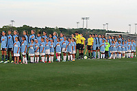 Piscataway, NJ - Saturday Aug. 27, 2016: Sky Blue starters, referees, Chicago Red Stars starters prior to a regular season National Women's Soccer League (NWSL) match between Sky Blue FC and the Chicago Red Stars at Yurcak Field.