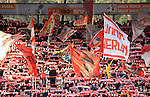 15.02.2020, Stadion an der Wuhlheide, Berlin, GER, 1.FBL, 1.FC UNION BERLIN  VS. Bayer Leverkusen, <br /> DFL  regulations prohibit any use of photographs as image sequences and/or quasi-video<br /> im Bild Unionfans (1.FC Union Berlin), Fahnen<br /> <br /> <br />      <br /> Foto © nordphoto / Engler