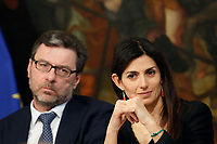 Undersecretary Giancarlo Georgette, Mayor of Rome Virginia Raggi<br /> Rome April 11th 2019. Palazzo Chigi. Presentation of the 76° edition of International BNL of Italy tennis tournament.<br /> photo di Samantha Zucchi/Insidefoto