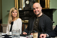 02/04/2015<br /> (L to R)<br /> Jenny Buckley UTV Weather Presenter &amp;<br /> Mark Pollock Adventire Athlete &amp; Motivational Speaker, The 1st blind man to reach to the South Pole<br /> during the Pride of Ireland judging day in the Mansion House, Dublin.<br /> Photo:  Gareth Chaney Collins