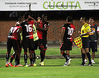 CUCUTA - COLOMBIA - 06 - 09 -2015: Los  jugadores de Cucuta Deportivo celebran el gol anotado a Alianza Petrolera, durante partido entre Cucuta Deportivo y Alianza Petrolera, por la fecha 10 de la Liga Aguila II-2015, jugado en el estadio General Santander de la ciudad de Cucuta.  / The players of Cucuta Deportivo celebrates a scored goal to Alianza Petrolera, during a match between Cucuta Deportivo and Alianza Petrolera, for the date 10 of the Liga Aguila II-2015 at the General Santander Stadium in Cucuta city, Photo: VizzorImage / Manuel Hernandez/ Cont. ( Mejor Calidad Disponible / Best Quality Available)