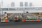 Pedestrian bridges connect an elevated Shijo-mae Station with the new Tokyo Metropolitan Central Wholesale Market in Toyosu on October 11, 2018, Tokyo, Japan. The new fish market replaces the famous Tsukiji Fish Market which closed for the last time on Saturday 6th October. The move to Toyosu was delayed for almost 2 years because of fears over toxins found in water below the new market. (Photo by Rodrigo Reyes Marin/AFLO)