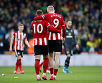 Billy Sharp of Sheffield Utd and Oli McBurnie of Sheffield Utd job done during the Premier League match at Bramall Lane, Sheffield. Picture date: 7th March 2020. Picture credit should read: Simon Bellis/Sportimage