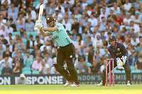 Rikki Clarke in batting action for Surrey as Adam Wheater looks on from behind the stumps during Surrey vs Essex Eagles, Vitality Blast T20 Cricket at the Kia Oval on 12th July 2018