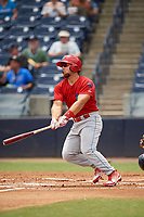 Clearwater Threshers first baseman Austin Listi (34) follows through on a swing during a game against the Tampa Tarpons on April 22, 2018 at George M. Steinbrenner Field in Tampa, Florida.  Clearwater defeated Tampa 2-1 (Mike Janes/Four Seam Images)