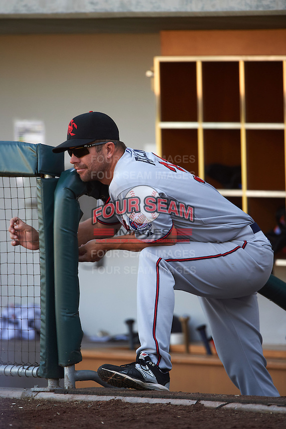 Scottsdale Scorpions hitting coach Chad Allen (31) during an Arizona Fall League game against the Mesa Solar Sox on October 19, 2015 at Sloan Park in Mesa, Arizona.  Scottsdale defeated Mesa 10-6.  (Mike Janes/Four Seam Images)