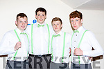 Patrick Horan, Thomas Murphy, Kevin Casey and  Brian Lonergan at the Castleisland Community College fashion show on Thursday in the River Island Hotel