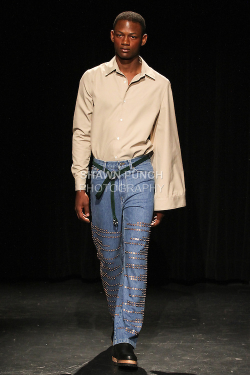 Model Lucas walks runway in an outfit from the Linder Spring Summer 2017 collection by Sam Linder and Kirk Millar on July 11 2016, during New York Fashion Week Men's Spring Summer 2017.