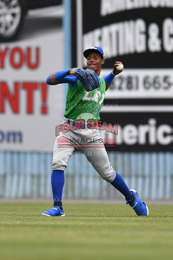 Lexington Legends center fielder Khalil Lee (9) fields and throws the ball during a game against the Asheville Tourists at McCormick Field on May 29, 2017 in , North Carolina. The Legends defeated the Tourists 6-2. (Tony Farlow/Four Seam Images)