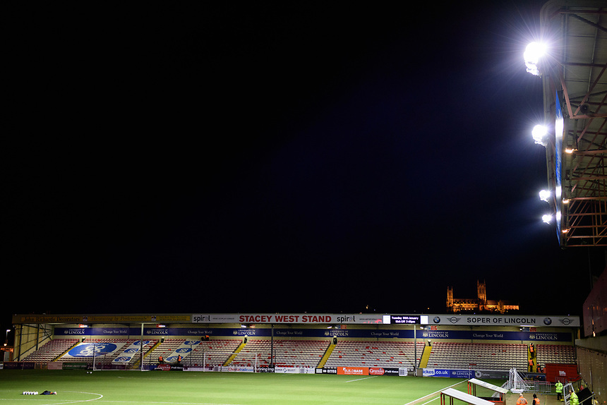 A general view of Sincil Bank, home of Lincoln City FC<br /> <br /> Photographer Chris Vaughan/CameraSport<br /> <br /> The EFL Checkatrade Trophy Fourth Round - Lincoln City v Peterborough United - Tuesday 23rd January 2018 - Sincil Bank - Lincoln<br />  <br /> World Copyright &copy; 2018 CameraSport. All rights reserved. 43 Linden Ave. Countesthorpe. Leicester. England. LE8 5PG - Tel: +44 (0) 116 277 4147 - admin@camerasport.com - www.camerasport.com