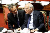 CARLO MALINCONICO SOTTOSEGRETARIO ALLA PRESIDENZA DEL CONSIGLIO CON DELEGA ALL'EDITORIA E MASSIMO VARI SOTTOSEGRETARIO ALLO SVILUPPO ECONOMICO.Roma 22/12/2011 Senato. Voto di Fiducia sulla Manovra Economica.Votation at Senate about austerity plan. .Photo Samantha Zucchi Insidefoto