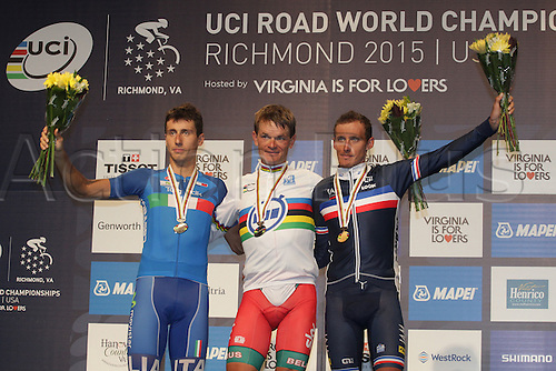 23.09.2015. Richmond, Virginia, USA. World Championship Cycling, Mens Elite time trials. Podium shot of Basil Kiryienka of Bulgaria<br />