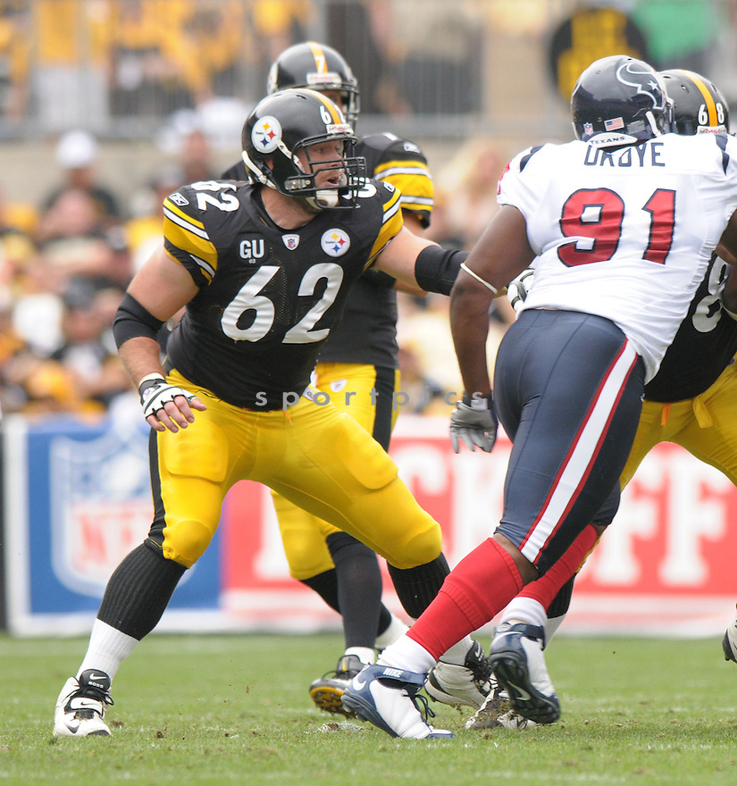 JUSTIN HARTWIG,, of the Pittsburgh Steelers, in action during the Steelers game against the Houston Texans  in Pittsburgh, Pennsylvania on September 7, 2008..The Pittsburgh Steelers won 38-17