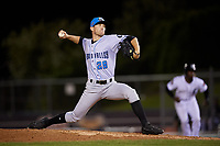 Hudson Valley Renegades relief pitcher Alan Strong (28) delivers a pitch during a game against the Connecticut Tigers on August 20, 2018 at Dodd Stadium in Norwich, Connecticut.  Hudson Valley defeated Connecticut 3-1.  (Mike Janes/Four Seam Images)