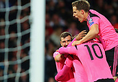 5th October 2017, Hampden Park, Glasgow, Scotland; FIFA World Cup Qualification, Scotland versus Slovakia;  Scotland players mob Chris Martin after his winning goal