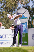 Jamie Donaldson (WAL) on the 10th tee during the third round of the Mutuactivos Open de Espana, Club de Campo Villa de Madrid, Madrid, Madrid, Spain. 05/10/2019.<br /> Picture Hugo Alcalde / Golffile.ie<br /> <br /> All photo usage must carry mandatory copyright credit (© Golffile | Hugo Alcalde)