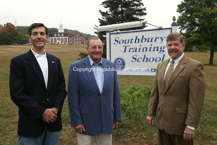 SOUTHBURY, CT 10/03/07- 100307BZ01- From left- Bob D'Amico, President of the Roaring 20s Antique and Classic Car Club Inc., Art Munter, former president and show chairman, and Fritz Gorst, Director of the Southbury Training School, pose at the school Wednesday morning.   The club, which hosts a car show on the Training School grounds, donates the proceeds to the school.  Munter said the club has donated more than $350,000 to the school since 1971.  The donation from this years show is still being calculated.<br /> Jamison C. Bazinet Republican-American
