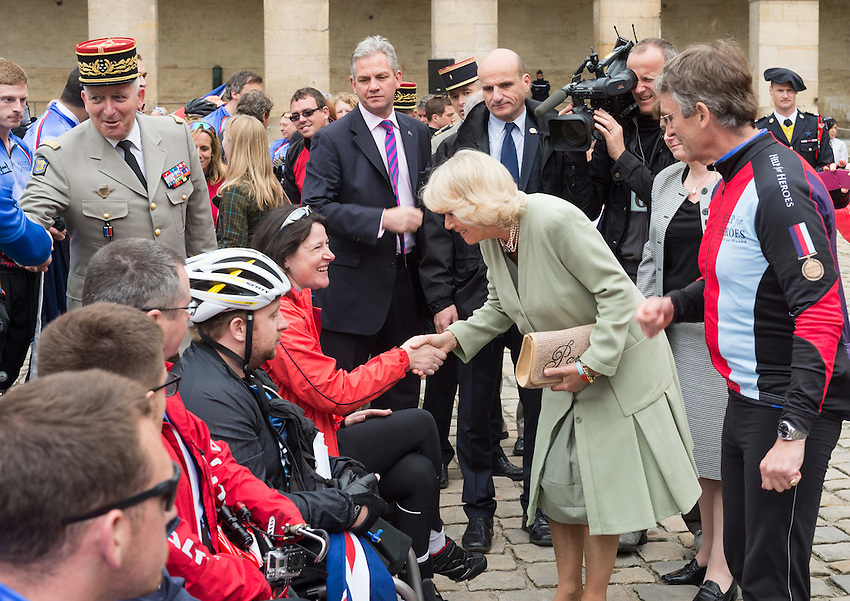 The Duchess of Cornwall launches the Big Battlefields Bike Ride from Paris to London, organised by the charity Help for Heroes, commencing from Les Invalides, Paris, concluding six days later at Horse Guards Parade, London via Compiègne, Amiens, Le Touquet, Calais and Chatham. Over 300 cyclists took part in the ride from Paris to London, where they were joined by a further 1,000 riders to form the Hero Ride for the final parade through London. The combined event earned more than £1 million for the charity, in support of war wounded servicemen and women.  Les Invalides, Paris, Tuesday 28th May 2013.
