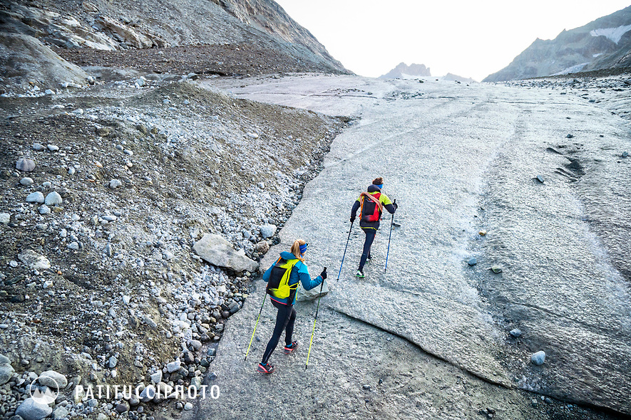 The Chamonix to Zermatt Glacier Haute Route. In late August 2017, we ran the tour in mountain running gear, running shoes, and all the necessary glacier travel and crevasse rescue gear.  Moving up the Glacier d'Otemma on solid ice.