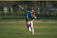 Farmingdale State Rams center fielder Michael Lynch (2) throws the ball in during the second game of a doubleheader against the FDU-Florham Devils on March 15, 2017 at Lake Myrtle Park in Auburndale, Florida.  FDU-Florham defeated Farmingdale 8-4.  (Mike Janes/Four Seam Images)