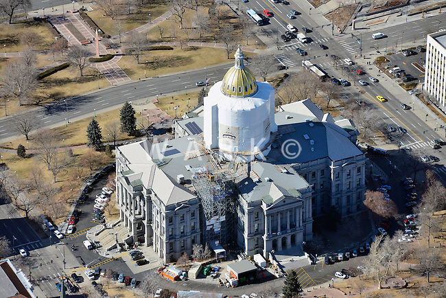 Colorado State Capitol dome repair, and City Hall.  Feb 2013