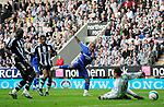 Chelsea's Florent Malouda scores their second goal. during the Premier League match at the St James' Park Stadium, Newcastle. Picture date 5th May 2008. Picture credit should read: Richard Lee/Sportimage