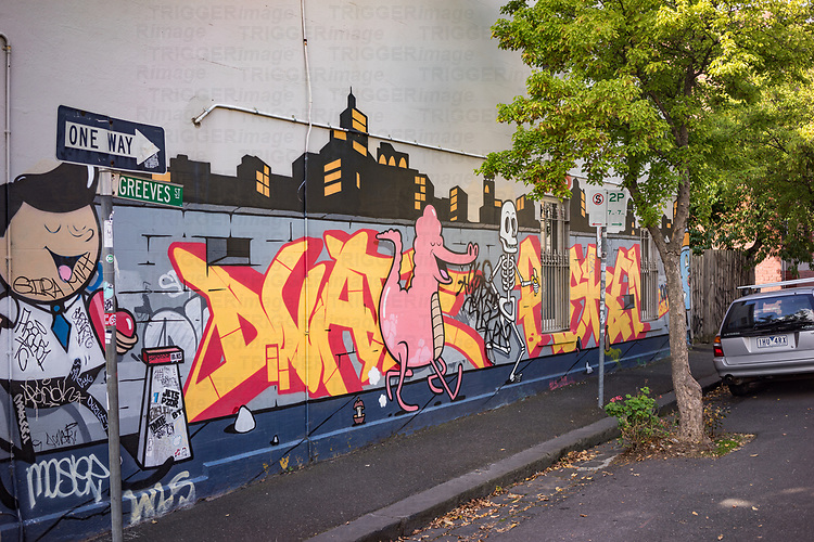 Murals and graffiti on street walls in Melbourne Australia