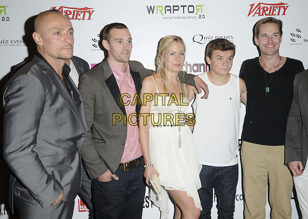 Sean Cronin, Tom Holloway, Katarina Gellin, Ryan Hartwig & Sean Browne.'The Thompsons' film premiere, Film4 FrightFest Day 4, Empire cinema, Leicester Square, London, England..26th August 2012.half length dress hand on hip white silver necklace braid plait hair beige shoes peep toe ankle strap sleeveless vest top jeans denim yellow grey gray suit pink shirt .CAP/CAN.©Can Nguyen/Capital Pictures.