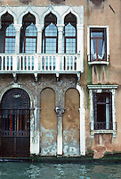 Venice:  Palazzo  on Grand Canal, showing erosion and deterioration.  Photo '83.