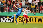 11.08.2019, Salmtalstadion, Salmrohr, GER, DFB-Pokal, 1. Runde FSV Salmrohr vs Holsteinm Kiel<br /> <br /> DFB REGULATIONS PROHIBIT ANY USE OF PHOTOGRAPHS AS IMAGE SEQUENCES AND/OR QUASI-VIDEO.<br /> <br /> im Bild / picture shows<br /> <br /> Alexander MÜHLING (Holstein Kiel, #08, blau) und Peter SCHÄDLER (FSV Salmrohr, #10, weiß)<br /> <br /> Foto © nordphoto / Schwarz