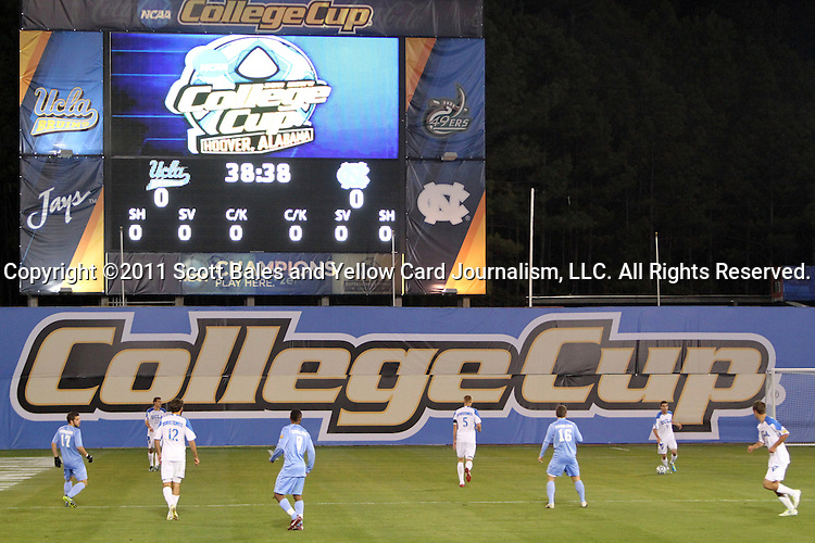 09 December 2011: A wide shot of first half action. The University of California Los Angeles Bruins played the University of North Carolina Tar Heels to a 2-2 tie after overtime, with the Tar Heels advancing with a 3-1 win in the penalty kick shootout at Regions Park in Hoover, Alabama in an NCAA Division I Men's Soccer College Cup semifinal game.