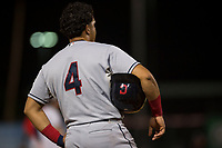 AZL Indians 2 designated hitter Yainer Diaz (4) stands on third base during an Arizona League game against the AZL Angels at Tempe Diablo Stadium on June 30, 2018 in Tempe, Arizona. The AZL Indians 2 defeated the AZL Angels by a score of 13-8. (Zachary Lucy/Four Seam Images)