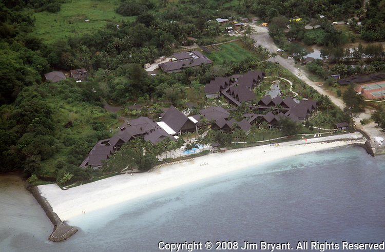 Aerial view of the Palau Pacific Resort, Japanese - owned, part of the Tokyu Hotel chain that runs from Vancouver to Bangladesh.the island republic of Palau has been everything from a Japanese military base to a U.S. Trust territory it now seeks profitable indignity as a plush Pacific resort..The Republic of Belau lies 1,300 kilometers, southwest of Guam, and 600 kilometers east of the Philippines. (Jim Bryant Photo).....