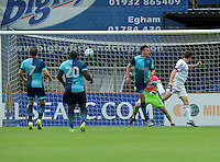 Matt McClure of Aldershot Town scores his side's 2nd goal to make it 2-0 during the Friendly match between Aldershot Town and Wycombe Wanderers at the EBB Stadium, Aldershot, England on 26 July 2016. Photo by Alan  Stanford.