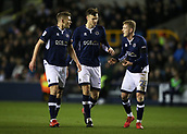 9th February 2018, The Den, London, England; EFL Championship football, Millwall versus Cardiff City; Shaun Hutchinson, George Saville, and Jake Cooper of Millwall discuss tactics before approaching the penalty area