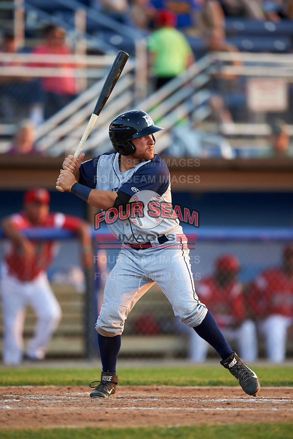 Brooklyn Cyclones second baseman Nick Sergakis (1) at bat during a game against the Batavia Muckdogs on July 5, 2016 at Dwyer Stadium in Batavia, New York.  Brooklyn defeated Batavia 5-1.  (Mike Janes/Four Seam Images)