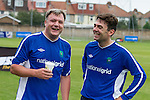 © Joel Goodman - 07973 332324 . 22/09/2013 . Lancing , UK . Shadow Chancellor Ed Balls and Shadow Health Secretary Andy Burnham following the Labour Party vs journalists football match . Day 1 of the Labour Party 's annual conference in Brighton . Photo credit : Joel Goodman