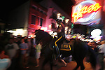 A mounted police officer on Bourbon Street New Orleans Louisiana Saturday Oct 25 2008. Americans will go to the polls on Nov 4, at a time of great Financial crisis, war in Iraq and Afghanistan, to elect a  new President. A vote, that will affect not only America, but the whole world. Photo by Eyal Warshavsky .