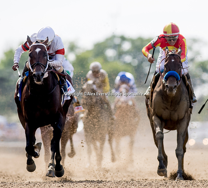 June 8, 2019 : #3, Mitole, ridden by jockey, Ricardo Santana, Jr., wins the Runhappy Metropolitan Stakes on Belmont Stakes Festival Saturday at Belmont Park in Elmont, New York. Alex Evers/Eclipse Sportswire/CSM