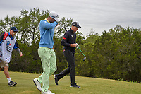 Wesley Bryan (USA) and Jim Furyk (USA) head down 15 during Round 2 of the Valero Texas Open, AT&amp;T Oaks Course, TPC San Antonio, San Antonio, Texas, USA. 4/20/2018.<br /> Picture: Golffile | Ken Murray<br /> <br /> <br /> All photo usage must carry mandatory copyright credit (&copy; Golffile | Ken Murray)
