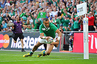 Simon Zebo of Ireland reaches for the try-line. Rugby World Cup Pool D match between Ireland and Romania on September 27, 2015 at Wembley Stadium in London, England. Photo by: Patrick Khachfe / Onside Images