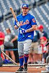22 September 2018: New York Mets catcher Jose Lobaton awaits his turn in the batting cage prior to a game against the Washington Nationals at Nationals Park in Washington, DC. The Nationals shut out the Mets 6-0 in the 3rd game of their 4-game series. Mandatory Credit: Ed Wolfstein Photo *** RAW (NEF) Image File Available ***