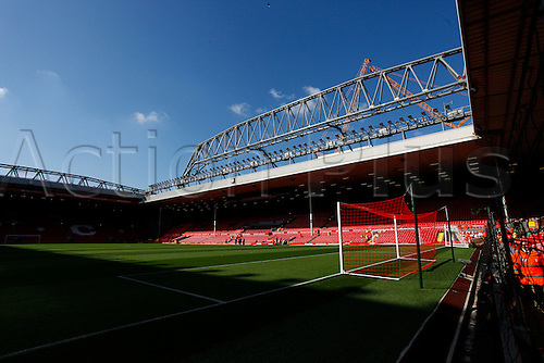 26.09.2015. Liverpool, England. Barclays Premier League. Liverpool versus Aston Villa. The new 650 tonne roof truss dominates the skyline over Anfield's main stand as work continues on the stadium expansion. The building works, which began earlier this year, will increase the stadium capacity to around 54,000 in the 2016-17 sesaon.