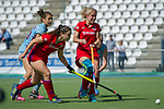 GER - Mannheim, Germany, May 05: During the women field hockey 1. Bundesliga match between Mannheimer HC (red) and Uhlenhorster HC Hamburg (light blue) on May 5, 2018 at Am Neckarkanal in Mannheim, Germany. Final score 1-3. (Photo by Dirk Markgraf / www.265-images.com) *** Local caption *** Alicia Magaz #29 of Mannheimer HC, Lydia Haase #12 of Mannheimer HC